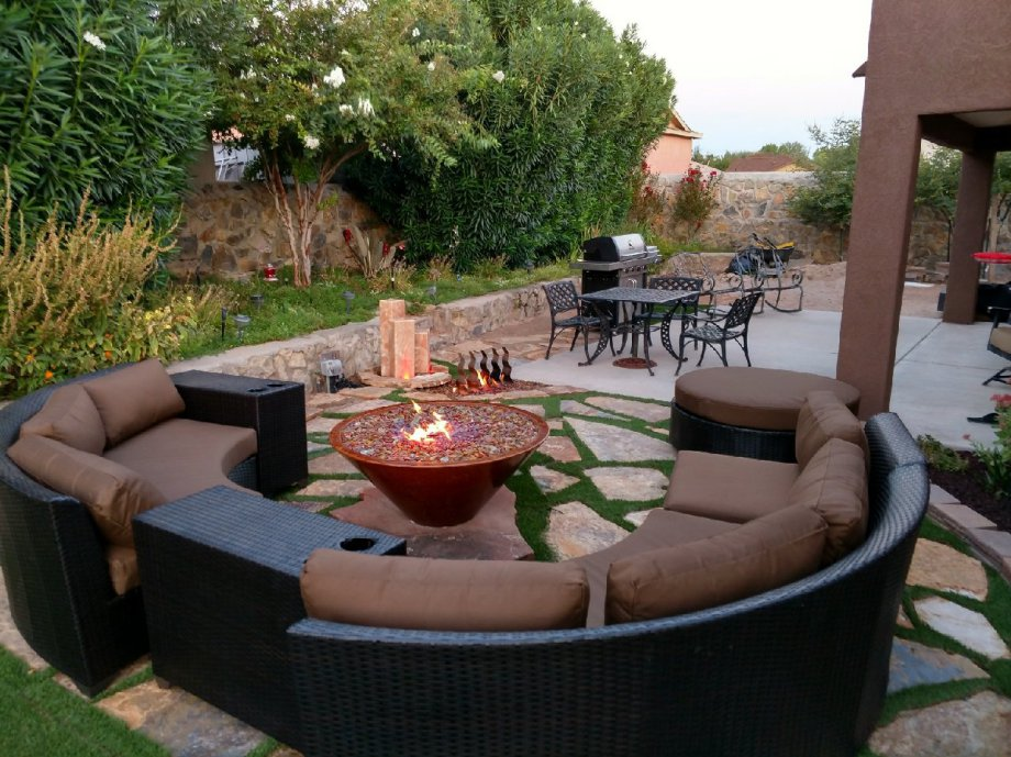Backyard seating and fire pit