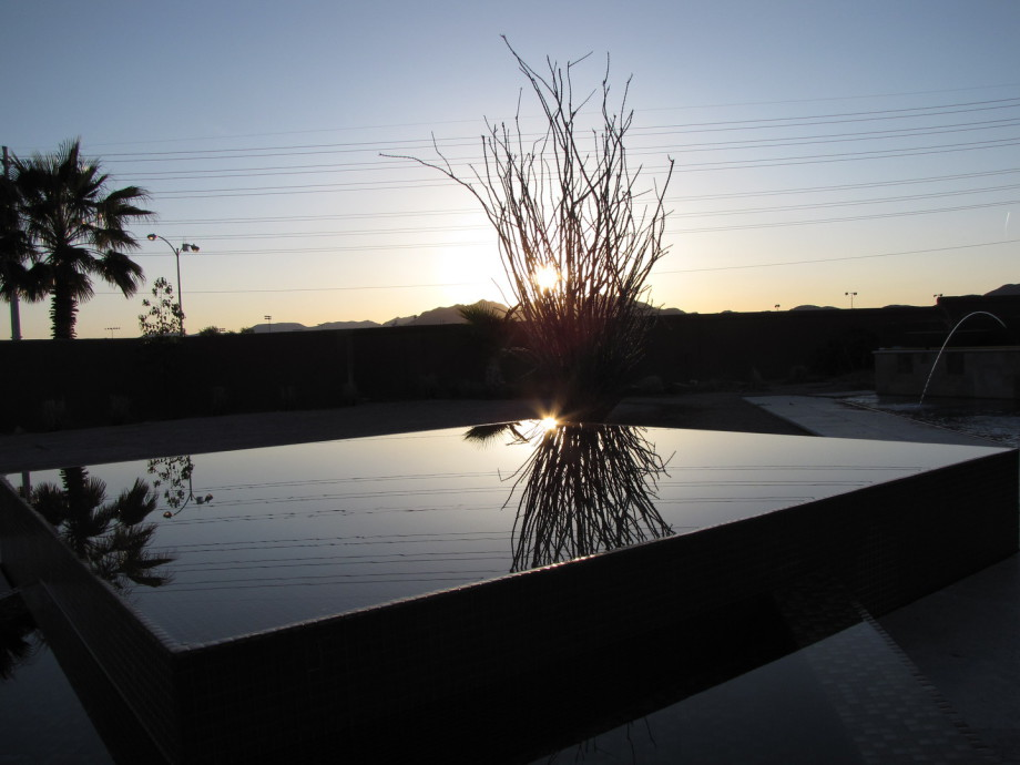 Sunrise overlooking pool